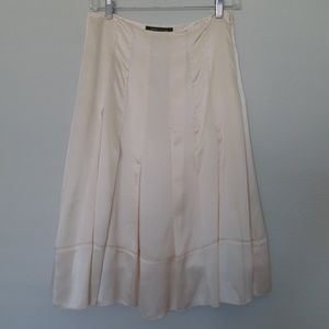 BCBG cream silk skirt
